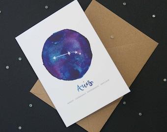Aries card | Star Sign Constellation Horoscope Zodiac Astrology. Birthday, new baby, greetings card