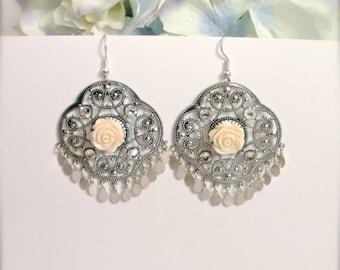 Large Chandelier Earrings, Rose Boho Earrings, Gypsy Earrings, Swarovski Crystals, Silver Filigree Earring, Statement Earrings, Gift For Her