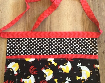 Teacher apron waiter apron - 4 pocket utility apron - Cluck Cluck Chickens in the Kitchen - with chevron and dots - teacher appreciation gif