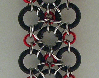 Black EPDM And Red Copper Chainmaille Bracelet
