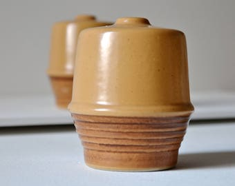 Mustard salt and pepper shakers. Retro ceramics to fit easily into a modern home.