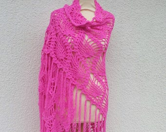 cotton crochet wrap shawl - organic clothing - crochet - fuchsia - festival clothing - boho clothing - boho crochet scarf - pink cotton wrap