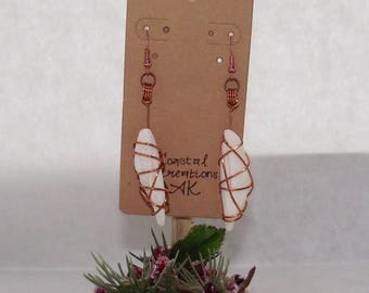 Wire Wrapped Shell Earrings
