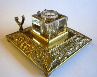 Vintage Art Nouveau Brass Ink Well