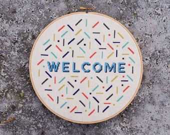Retro Welcome - Modern cross stitch pattern PDF - Instant download