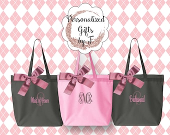 5 Personalized Zippered Tote Bags, Bridesmaid Gifts Set of 5, Embroidered Tote, Monogrammed Tote, Bridal Party Gift