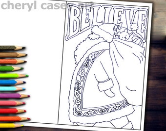 Printable Coloring Page - Christmas Card Santa Believe - Cheryl Casey Art - Digistamp, Digital Stamp
