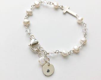 Confirmation Bracelet, First Communion Bracelet, 1st Communion Bracelet, Cross Bracelet, Pearl Bracelet with Cross, Cross Bracelet Pearls