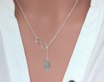 Sterling Silver Hamsa Neckalce - Infinity Hamsa Necklace - Lucky Necklace - Khamsa Hand Pendant Charm Infinity - Y necklace -Lariat necklace