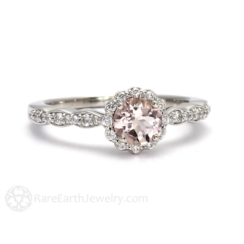 in carat gemstone ring halo diamond pink engagement rose women for sapphire and gold rings
