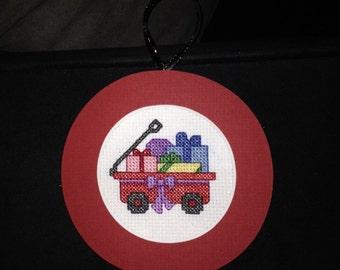 PERSONALIZED Toy Wagon Cross Stitch Ornament