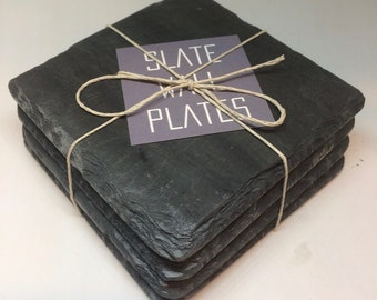 Slate Coasters, Drink Coasters, Cork Backed  -   Made by hand in Vermont