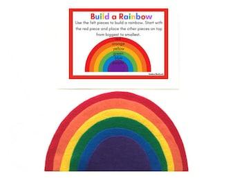 Felt Rainbow Busy Bag for Toddlers, Rainbow Activities, Montessori Rainbow, Fine Motor Skills, Learning Colors