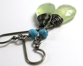Prehnite Earrings Turquoise Dangle Wire Wrapped Mint Green Oxidized Sterling Silver