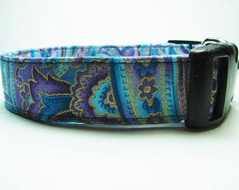 Blue & Purple Paisley with Gold Accents Dog Collar
