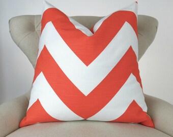 Orange Chevron Pillow Cover -MANY SIZES- Tangerine Orange & White, Large Zigzag Pattern Throw Pillow, Zippy Tangelo Premier Prints, FREESHIP
