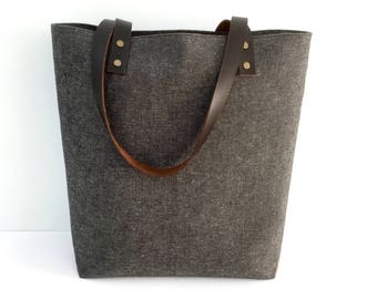Medium Tote Bag with Brown Leather Straps, Lots of Pockets inside, Canvas Lined Tote Bag, Linen Canvas Tote Bag, canvas tote leather