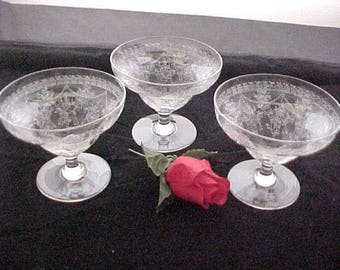 Vintage Thomas Webb Etched Sherbets (3), Unsigned WET50 Floral and Swag Intricate Etching on Old Clear Glassware, Collectible 1930s Glass