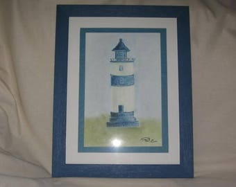 Free shipping! framed pastel blue Lighthouse pattern