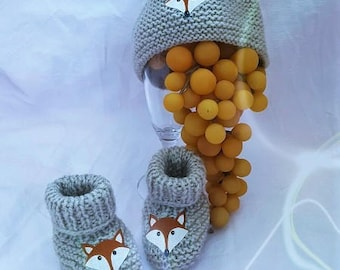 Hat(Cap) gray woolen slippers