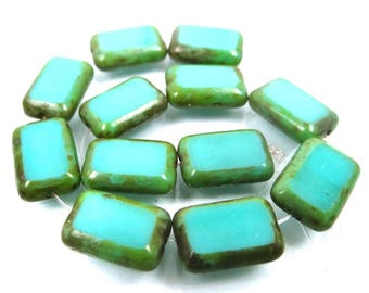 Turquoise Picasso 12 Czech Glass Rectangle Beads 12mm (c082)