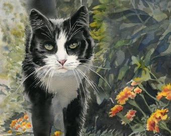 Original Tuxedo cat Art White Black Realistic Watercolor Painting 14x11 Girls Cat Lover Gift Realism custom canvas