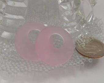 Pink Sea Glass Gogo Donut Pendants pair 18mm matte frosted cultured SGP-GG18mm-Pink