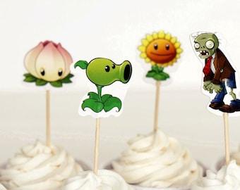 READY To SHIP Plants versus Zombies Inspired Cupcake Toppers, Toppers, Picks, Cake Toppers, Cake Topper Pick, Cupcake Picks, Birthday