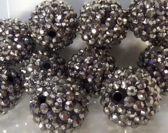 20mm, 10CT. Gun Metal Grey Rhinestone Beads, G11