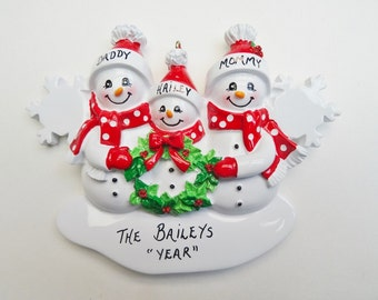Personalized Family of Three Ornament - Personalized Family of 3 Ornament - Personalized Family of 3 Christmas Ornament