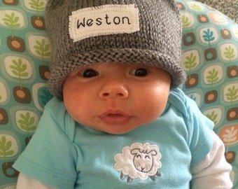 BABY ANNOUNCEMENT, Knit Baby Hat, Personalized,New Baby, Newborn Hat,  Baby Boy Hat, Preemie, Free monogrammed name, Preemie/4T, Winter hats