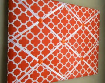 "16""x20"" French Memory Board, Bow Holder, Bow Board, Ribbon Board, Vision Board, Memo Board, Photo Display, Orange Quatrefoil Memo Board"