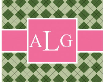 Argyle Pink and Green Frame with Monogram Cross Stitch Pattern