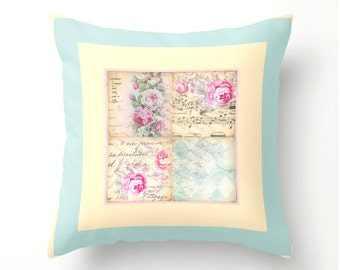 Shabby Chic Decorative Throw Pillow No.2 indoor or outdoor use, pillow cover, cushion cover, floral home decor, spring home accessories