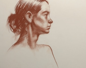 14X17 Original Conte crayon life drawing portrait profile sketch on acid free strathmore drawing paper.
