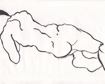 male figure, sumi Ink line drawing, original painting, A4 size