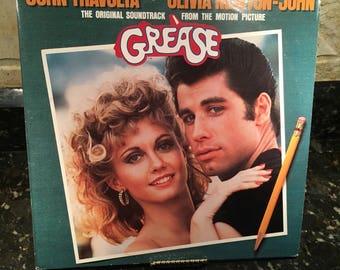 "Grease 'Original Movie Soundtrack"" Vintage Vinyl Record LP 1978 - Excellent Condition - John Travolta - Olivia Newton John -  Free Shipping"