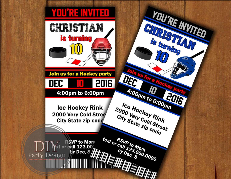 Hockey Ticket Birthday Invitation Digital Party Invitation