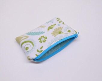 blue green change purse, green blue coin purse, floral zipper pouch, blue zipper bag, zipper pouch with floral print, flower change purse