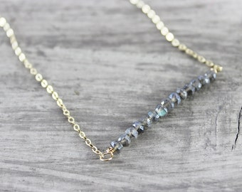 Labradorite Bar Necklace, Gold Fill Necklace, Simple Classic Jewelry, Delicate Necklace, Grey Gemstone Necklace, Handmade Jewellery