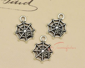 30PCS--17x14mm ,Spiderweb Charms Antique silver Halloween Spider Charm Pendant, DIY Findings, Jewelry Making JAS0548