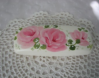 Pink Roses Eyeglass case Hand Painted