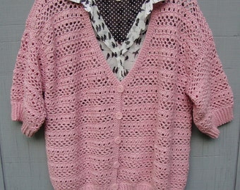 Pink Cardigan, Merino Cardigan, Merino Wool Sweater, Crocheted Cardigan, Cardigan Sweaters, Available in Plus size 1X/2X