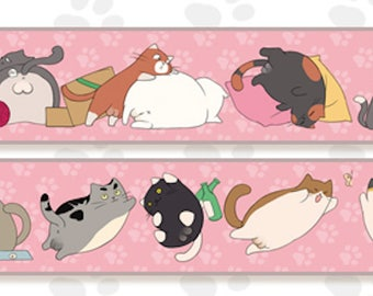 1 Roll of Limited Edition Washi Tape- Lazy Fat Cats