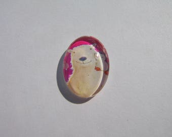 Cabochon 18 X 13 mm oval with a picture of bear and Penguin