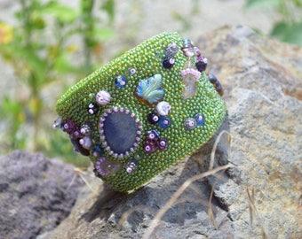 Bead Embroidery Bracelet Boho summer Wide Beaded cuff Gemstone Embroider jewelry beadweaving Beadwork Girlfriend gift bracelets Seed bead