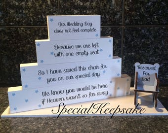 Personalised Wedding Heaven Memorial Plaque Stacking Block Rocking Chair Decoration Ornament Rememberance Angel Loved One You Would Be Here