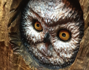 Owl, Wood Carving, Handmade Woodworking, Log Home Decor, Perfect Wood Gift, by Josh Carte, Anniversary Wood, Art, Sculpture, Wood Gift