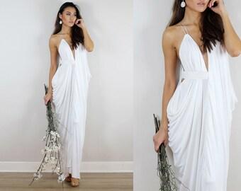 Ivory Wedding Dress, Grecian Wedding Dress, Ivory Gown, Ivory Dress, Wedding Dress, White Prom Dress, Convertible Dress, Baby Shower Dress