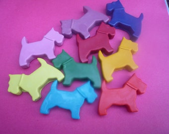 8 scottie dog novelty wax crayons